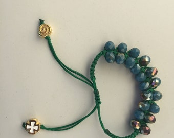 Bracelet, Charm bracelet, Macrame bracelet, Handmade, Greek jewelry, Crafting, Cross,  Egst, Boho bracelet, Anniversary Gift, Made in Greece