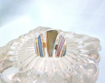 5 Plank Colorful Mother-of-Pearl Shell Sterling Silver Ring - Size 5