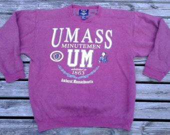 80's / 90's University of Massachusetts Minutemen Vintage Crew-neck Sweatshirt Made by Galt Large