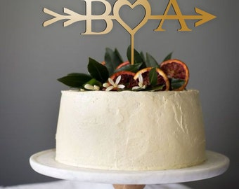 Arrow and Initials Cake Topper - Wire Cake Topper - Gold Wedding Cake Topper - Arrow Cake Topper - Personalized Cake Topper - Cake Topper .