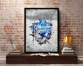 Ravenclaw,House, Print, Poster, Fan Art, Harry Potter, Crest, Hogwarts, Crown,Birthday, Gryffindor, Hufflepuff, Slytherin,