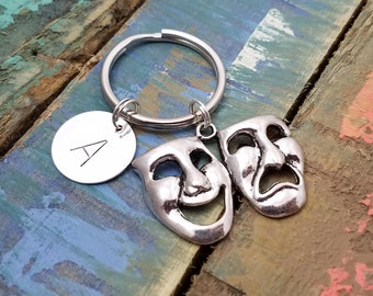 ComedyTragedy Masks Key Ring, Personalized Theater Keychain, Theater Keyring, Initial Keychain, Inspirational Gift, Drama Director, Actor