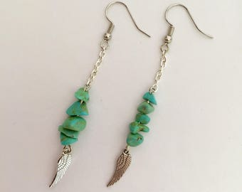 Turquoise stone earrings, Turquoise earrings, Wing earrings, Dangle earrings, Native American earrings, Western, Wing, BOHO, Handmade, Gift
