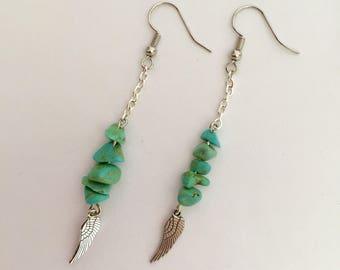 Turquoise stone earrings, Turquoise earrings, Wing earrings, Dangle earrings, Native American earrings, Western, Wing, BOHO, Handmade, Gift