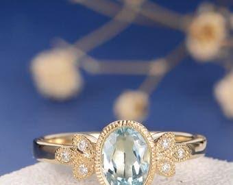Antique Oval Cut Aquamarine Engagement Ring Gold Diamond Flower Leaf Milgrain Bridal Anniversary Promise Women Unique Birthstone Retro