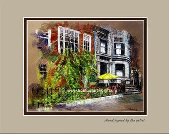 Boston Commonwealth Ave Matted Art Print  - Boston Artwork