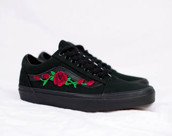 Vans Old Skool Custom - 'Rose Patch' - EUR 34.5 - 47 Unisex - Red Rosen Stickerei Sk8 Hi Sneaker Tommy Hilfiger Ralph Lauren Gucci