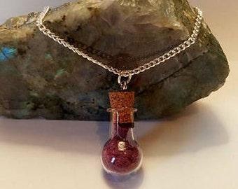 Real Crushed Rose Petal Potion Bottle Necklace Love