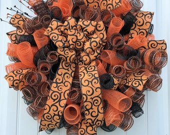 Deco mesh wreath, Halloween wreath, Fall wreath, Halloween deco mesh, Fall deco mesh, door decor, spiral wreath