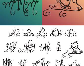 Interlocking Vine Monogram Font SVG, Vine Monogram Font Cut files, Interlocking monogram, Svg files for Silhouette, Cricut, Christmas svg