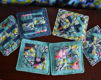 Vibrant Fabric Coaster Set