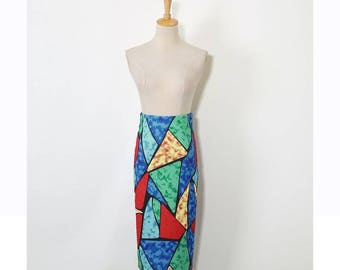 Women Pencil Skirts Irregular Color Block Geometric Print High Waist Stretch Tube Wrap Bodycon Midi Faldas