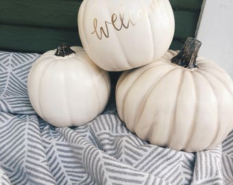Calligraphy Pumpkin | Small Lettered White Pumpkin | Custom Pumpkin | Pumpkin Decor | Pumpkin Decorations Outdoor | Gold Pumpkin | Grateful