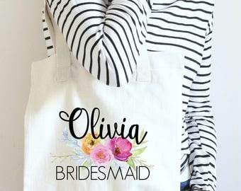 Floral Bridesmaid Tote, Custom Bridesmaid Tote Bag, Tote Bags for Bridal Party, Bridesmaid Bag, Floral Bridesmaid Bag, Bridal Party Tote Bag