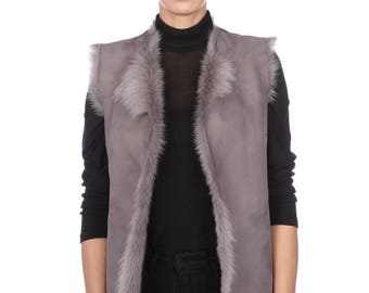 Grey Toscana Lambskin Reversible Waistcoat, Grey Sheepskin Gilet Size XS, UK 6/8
