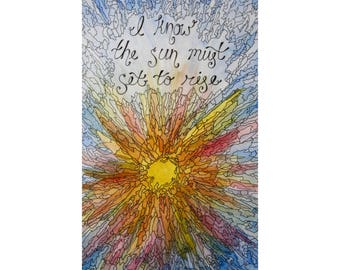 Watercolor Sunset & Quote