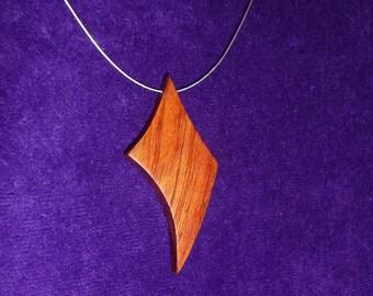 Pendant necklace of bubinga wood
