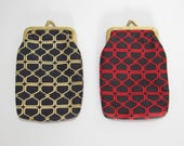 Vintage Cigarette Cases / Pair of Navy Blue, Red and Yellow Nylon Novelty Print Pouches / Kiss Lock Closure