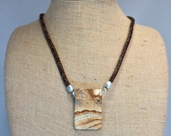 25 Inch Sorrel Horse Hair Braided Horsehair Necklace With Picture Jasper Pendant