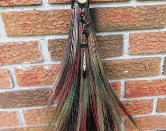 Rustic Witch's Broom in Shades of Autumn, Witchcraft Wicca, Wiccan Broom, Besom Broom, Witches Altar, Pagan Altar, Goddess, Pentacle, Onyx