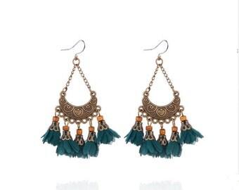 Deep teal blue flower tassel earrings - surgical steel earrings, bronze long fringe earrings, stainless steel earwires nickel free jewelry