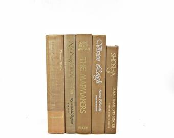 Camel Brown Decorative Books, Beige Book Decor, Books for By Color, Book Collection Set, Home Deco,r Wedding Decoration Bookshelf Design