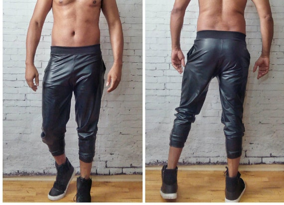 Coated Jersey Fitted Jogger Megging Style Pant Leather Look Mens Stetchy