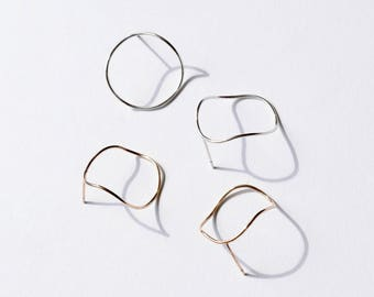 Simple Hoops Wave Earrings Gold Hoop Studs Circle Studs Thin Hoops Gold Hoop Earrings