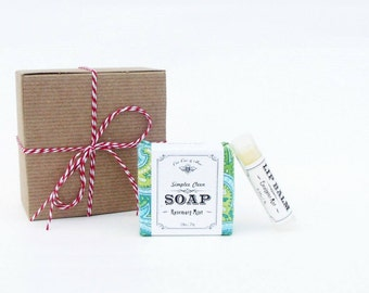 Rosemary Mint Gift Pack: Handmade Soap & Organic Lip Balm