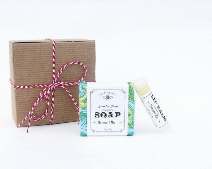 Rosemary Mint Gift Pack: Handmade Soap & Organic Lip Balm