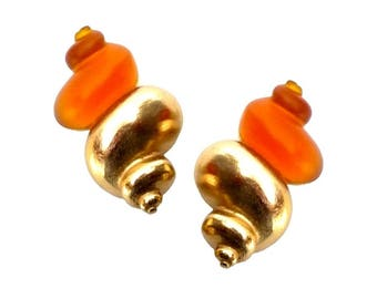 CHRISTIAN DIOR ~ Authentic Vintage Shell Dune Gold Plated Clip On Earrings - Robert Goossens - CD