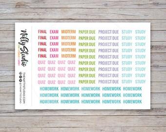 College Planner Stickers, school planning, student, academic, university, agenda, class, assignment, erin condren  | The Nifty Studio [112]