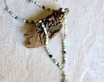 Long Necklace, Gemstone Necklace, Aventurine, Y Necklace, Layering Necklace, Boho Necklace, Beaded Necklace, Blue Necklace, Boho Jewelry