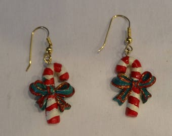 CHRISTMAS CANDY CANE Earrings, pierced,dangling style,2 inches long,circa 1990s, hand painted polmer
