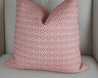 Pink and Gold Chenille Decorative Pillow Cover, Pink Cushion, Gold Throw Pillow, Housewares Decor, Home Living 0097