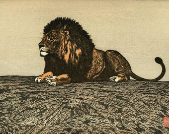 "Japanese Art Print ""Lion"" by Yoshida Toshi, woodblock print reproduction, asian art, cultural art, woodcut reproduction"
