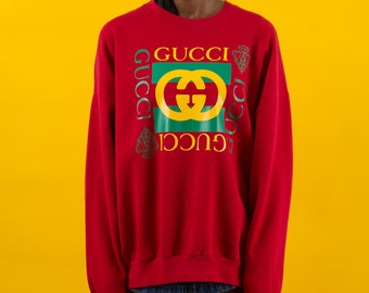 90s Vintage, Bootleg Gucci, Red, Pullover, 90s Clothing, Sweatshirt, Vintage Clothing, Hip Hop, Fashion, Celebrity, Logo, Unisex, Oversized