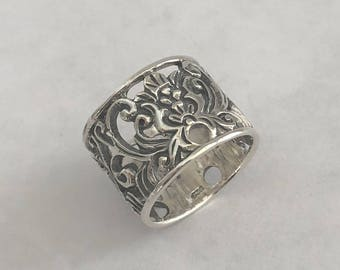 Wide Filigree Ring Sterling Silver Balinese Bali Jewelry