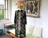 Vintage 60s Lace Jacket - Sexy Black Lingerie Cover-Up Long House Coat - S/M