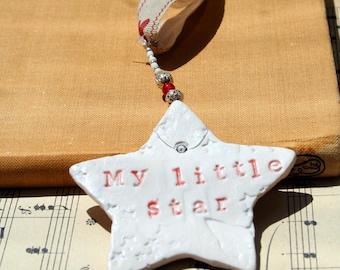 My Little Star, ceramic star, textured, coloured glazes, Gift, mother, Mum, New Baby, wife, friend, Partner.