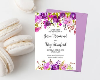 Purple Floral Save The Date Printable Bohemian Save The Date Card Boho Save The Date Invitation Purple Wedding Announcement Lavender 245
