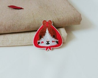 red hat patch-rabbit patch-animal patch-cute patch -iron on patch -embroidered patch- patch for jacket