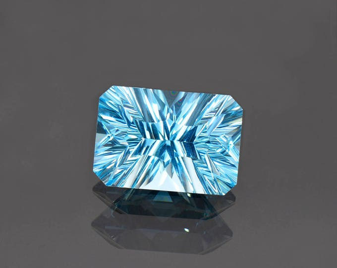 UPRISING SALE! Large Electric Blue Topaz Gemstone from Brazil, 14.97 cts., 17x12mm., Concave Emerald Cut.