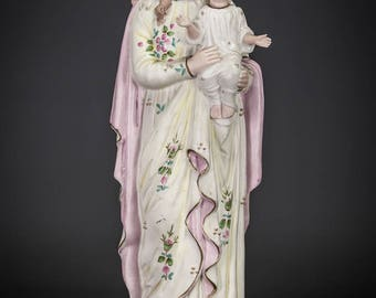 "14"" Beautiful Antique Madonna w Child Jesus Bisque Porcelain Statue Virgin Mary Baby Christ"