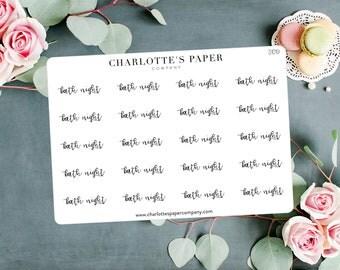 Script Planner Stickers / Bath Night Stickers / Planner Stickers / Foiled Planner Stickers / Traveler's Notebook Stickers / S1019