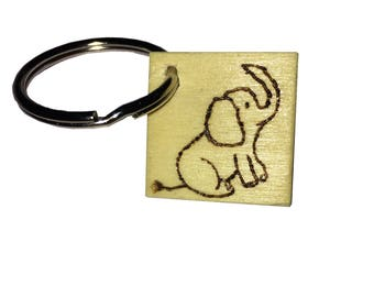 Square Wooden Elephant Keychain