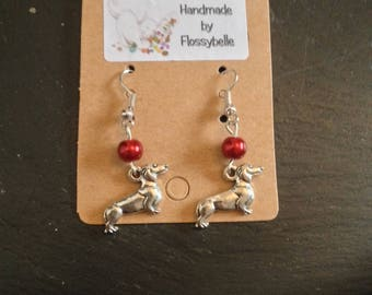 Silver tone Dachshund earrings