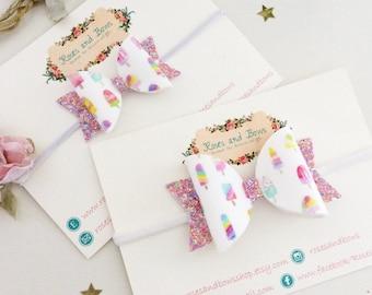 Ice Cream Glitter Bow Headband - Ice Lolly Sparkly Bow - Bunny Headband - Glitter Bow Clip - Popsicle Bow