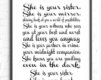 She Is Your Sister, She Is Your Mirror, Quote, Gift For Sister, Little Girls, Twin Gift, Baby Girl Nursery, Sister Bedroom Decor, Baby Gift