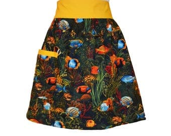 Misses Size 8-14 Tropical Fish Half Apron, Angel Fish, Butterfly Fish, Clown Fish, Orange and Blue, Women's Aprons, Delantal, Gift for Women